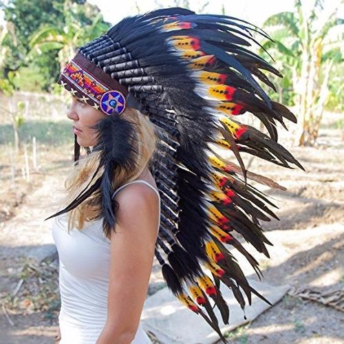 penacho indigena apache indio adultos 29 envio gratis