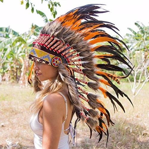 penacho indigena apache indio adultos 30 naranja anaranjado