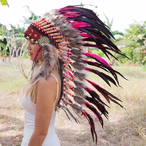 penacho indigena apache indio adultos 31 rosa envio gratis
