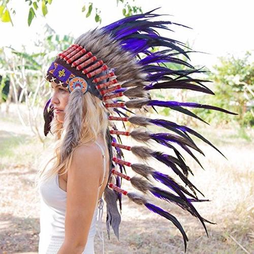 penacho indigena apache indio adultos 33 morado envio gratis
