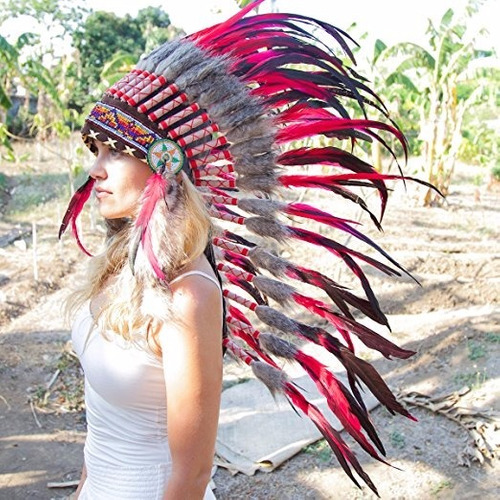 penacho indigena apache indio adultos 34 rojo envio gratis