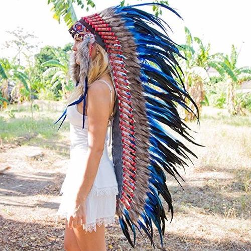 penacho indigena apache indio adultos azul 13 envio gratis