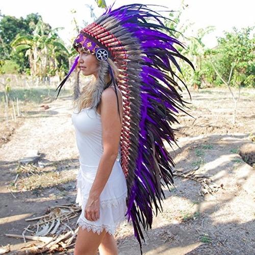 penacho indigena apache indio adultos morado 18 envio gratis
