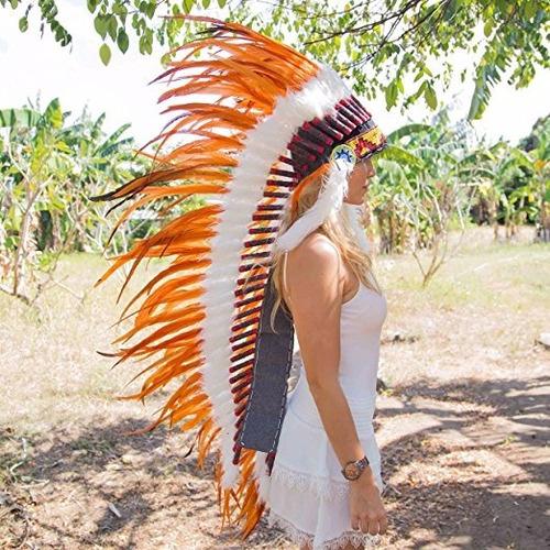 penacho indigena apache indio adultos naranja anaranjado 16