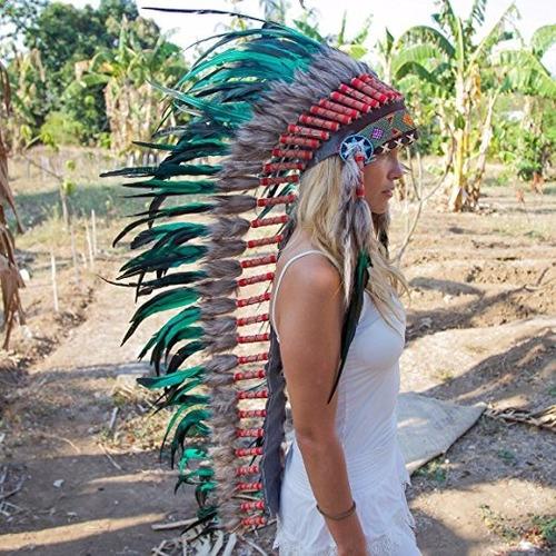 penacho indigena apache indio adultos verde 14 envio gratis