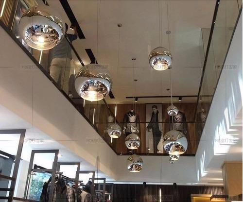 pendente 15cm bola globo cromada vidro espelhada prata ball