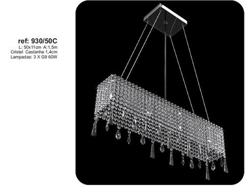pendente c/ cristal ref:930-50c p/sala estar e jantar