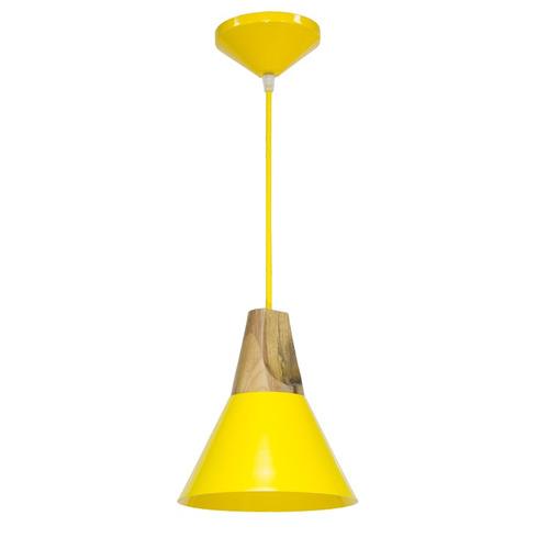 pendente cônico madeira amarelo ø20 luminária sala t925 gda