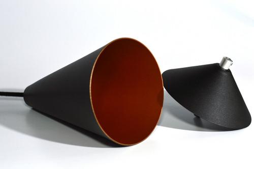 pendente cone preto com cobre aluminio decoracao
