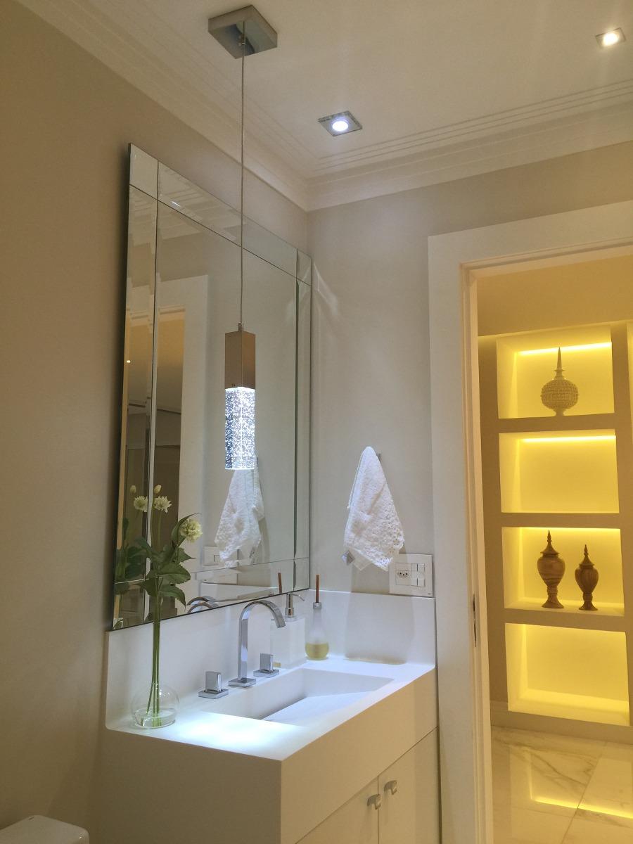 Pendente de cristal com bolhas led p cabeceira ou lavabo for Altura de lavabo