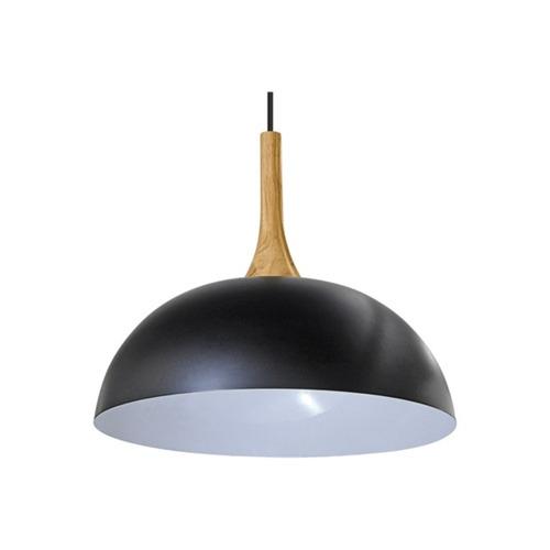 pendente doris madeira e metal e2 preto 40cm