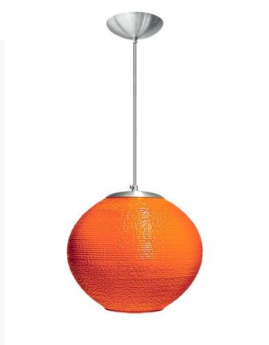 pendente globo raiado laranja grande ø30 sala  - caisma
