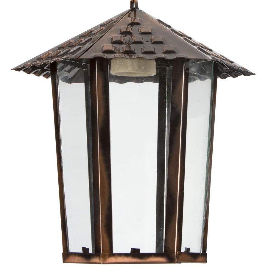 Pendente Luminária Colonial Cobre De Teto Em Aço E Vidro R$ 65,90 em Mercado Livre