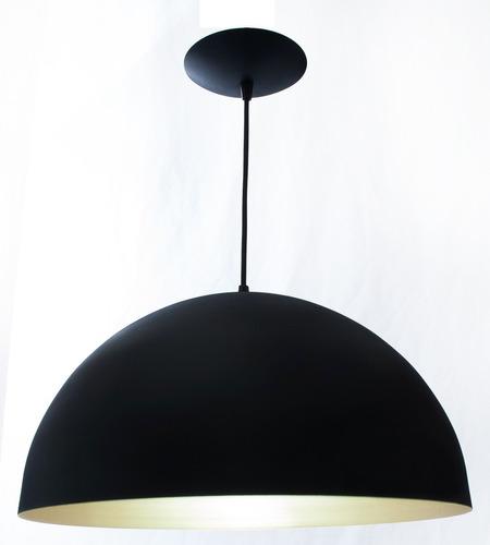 pendente ônix preto e dourado alumínio luminária meia esfera
