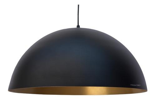 pendente ônix preto e dourado alumínio meia lua esfera 43cm