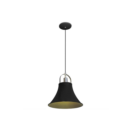 pendente para 1 lâmpada 60w bivolt orbital preto e dourado