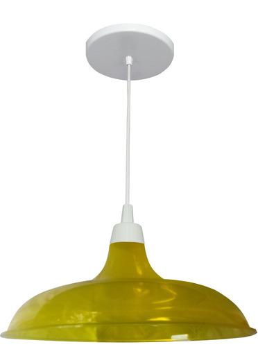 pendente prato translúcido amarelo diâmetro 32cm