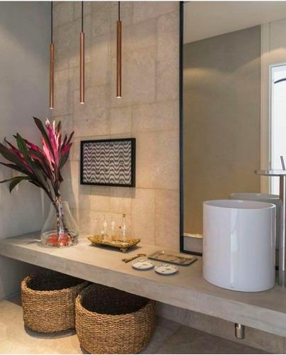 pendente quarto lavabo tubo cobre 50cm lampada dicróica