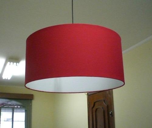 pendente tecido 45cm luminária de teto lustre cupula abajur