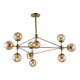 Pendente Volans Moderno Dourado 10 Lâmp. Mesa Sala Cozinha