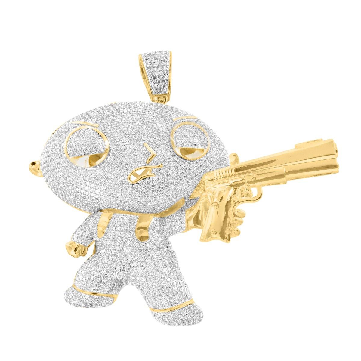 Pendiente 14k de stewie griffin con pistola acabado dorado cargando zoom aloadofball Images