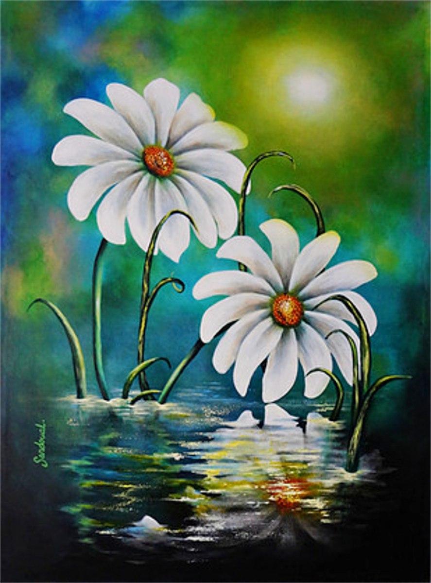 Pendiente Cuadro Grande Flores Blancas Acrílico Pintura ...