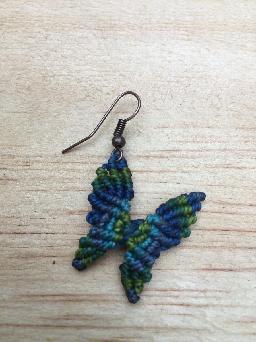 nueva llegada df21b c036b Pendientes Aretes Mariposa Macrame Verde Y Azul