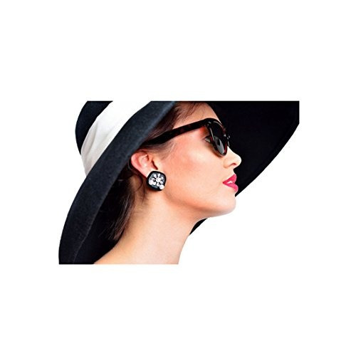 fc4bc1f00f7e Pendientes Audrey Hepburn Desayuno En Tiffanys Negro Con Per ...