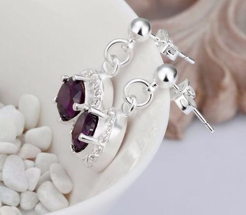 pendientes brillante aretes cadenas bisuteria dama joya