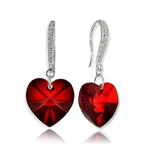 pendientes colgantes de plata esterlina con corazón de amor