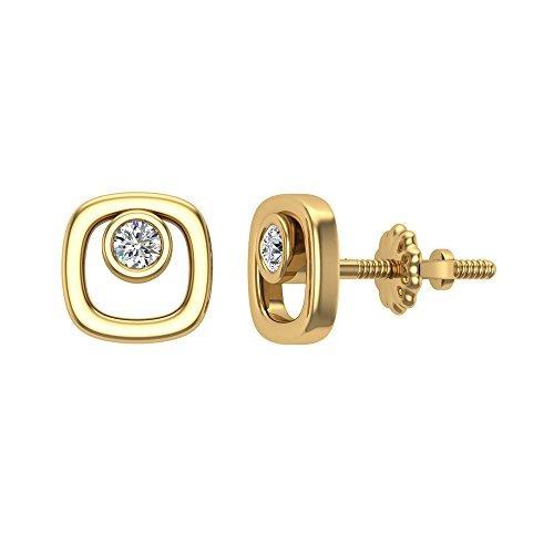 pendientes con forma de cojín de diamantes 10k oro amaril...