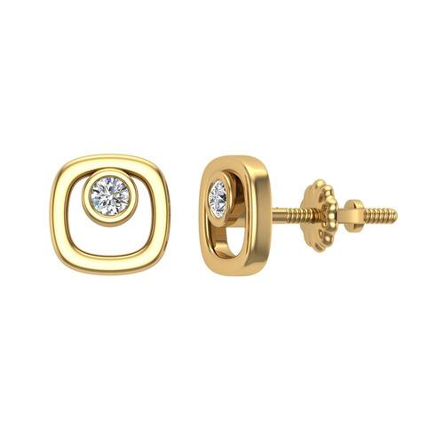 pendientes con forma de cojín de diamantes 10k oro amaril