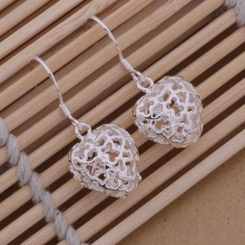 pendientes corazon collares cadenas aretes dama joyas plata