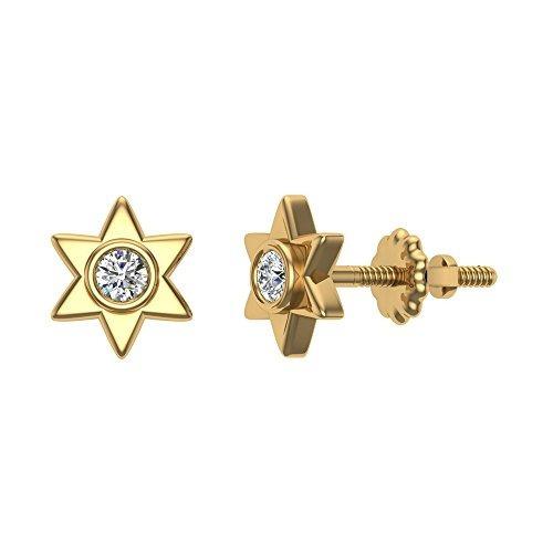 pendientes de diamantes en forma de estrella de 6 puntas...