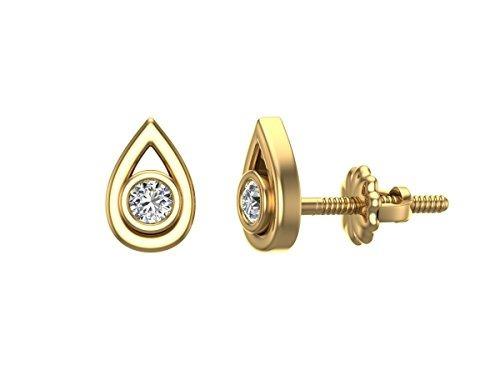 pendientes de diamantes en forma de lágrima 10k oro amari...