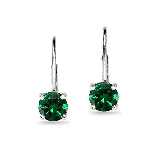 pendientes emerald leverback de 6 mm redondos de plata es...