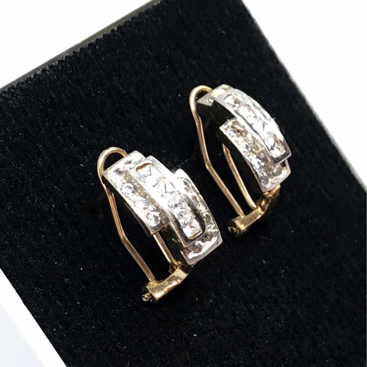 dfdc888b3f3d pendientes oro blanco 10k zirconias aretes pequeños 1.6 cm. Cargando zoom.