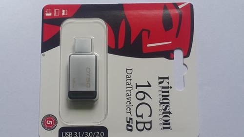 pendrive 16gb metal kingston usb 3.1/3.0/2.0 datatravel 50