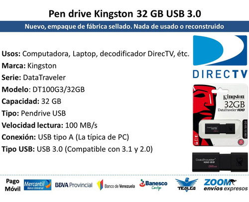pendrive 32 gb usb 3.0 kingston datatraveler 100 g3 directv