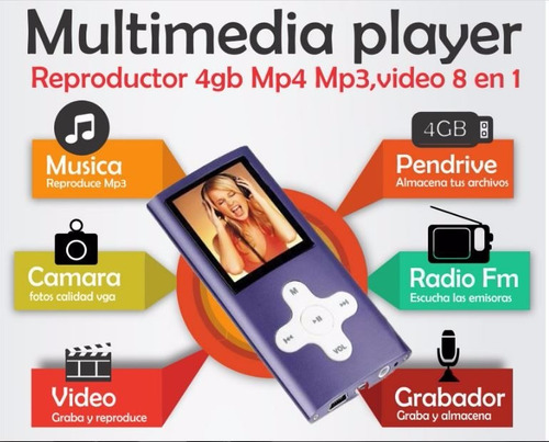 pendrive 4gb reproductor mp4 mp3,video camara 8en
