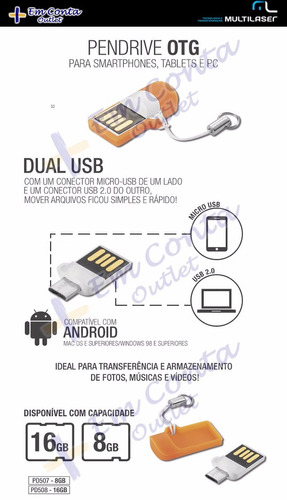 pendrive 8gb dual usb smartphone/tablet/pc/note multilaser