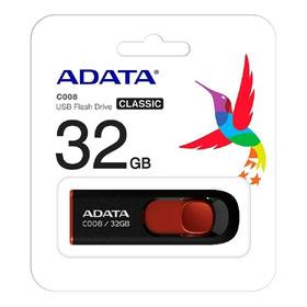 Pendrive Adata C008 32gb 2.0 Preto/vermelho