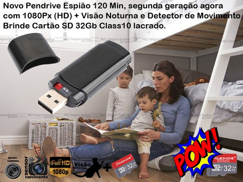 pendrive espiao micro camera espia gravador voz video em hd