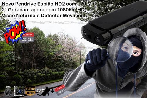 pendrive espião camera escondida sensor de movimento + 32gb