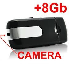 pendrive espião com detector movimento + sd 8gb + adap + lei