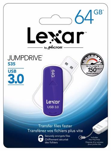 pendrive lexar 64gb jumpdrive s35 usb 3.0 - ljds35-64gabnl