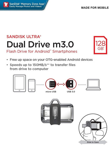 pendrive sandisk 128gb dual drive 3.0 celular android laptop