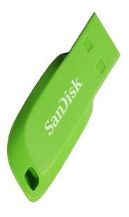 pendrive sandisk cruzer blade cz50 - 16gb verde eléctrico