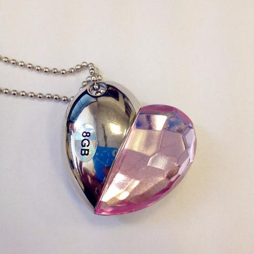 pendrive tipo joya de 8gb en forma de corazon