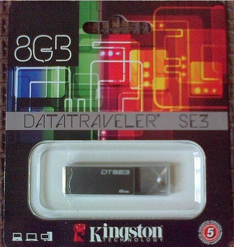 pendrive usb 8 gb kingston datatraveler se3 gris plata